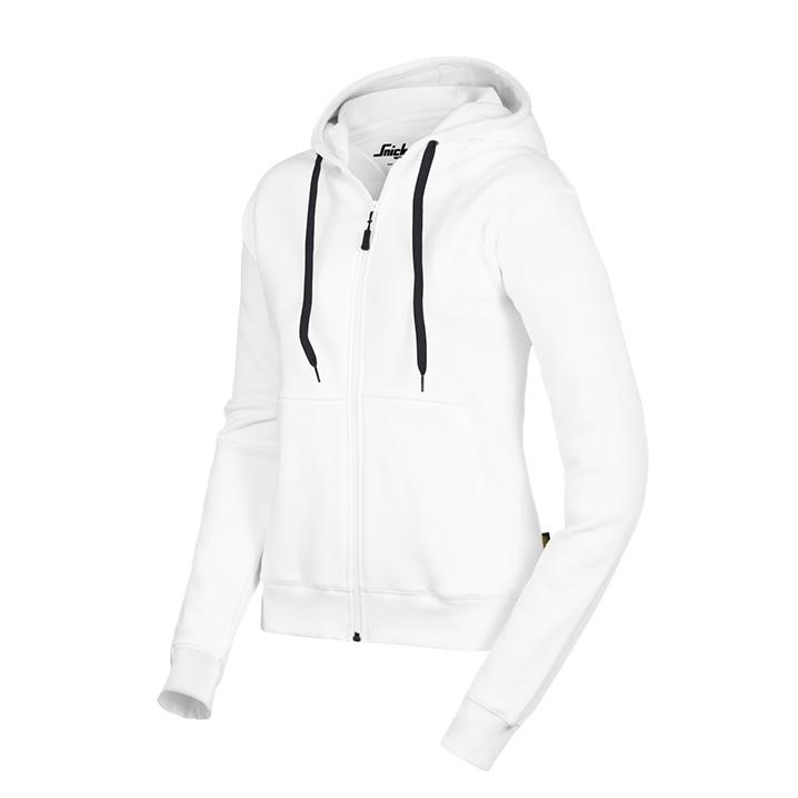 Sweat shirt à capuche zippé pour femmes blanc