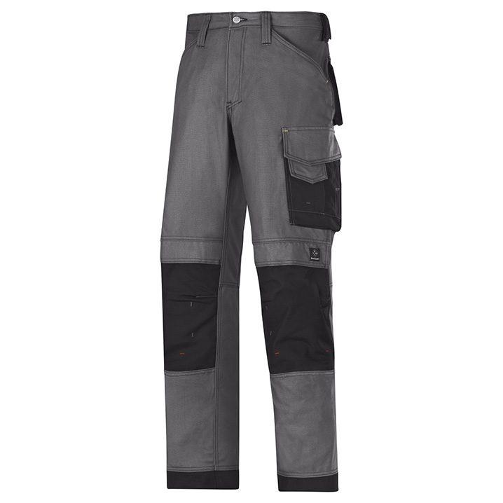 Pantalon d'artisan Canvas + Snickers Workwear gris acier & noir